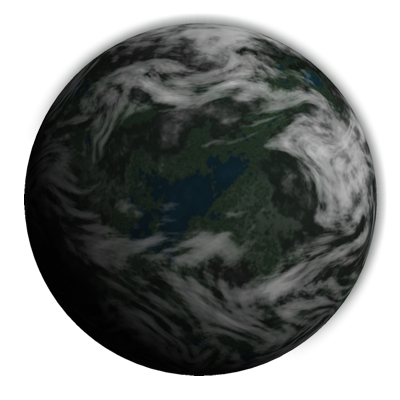 This alpine planet is covered with snow peaked mountains, green valleys, lakes, and terrestrial clouds.