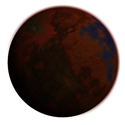 Fungal planet with red fungal growth