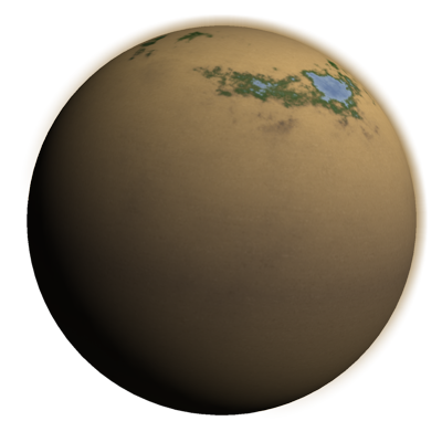 A desert world with oceans at the poles