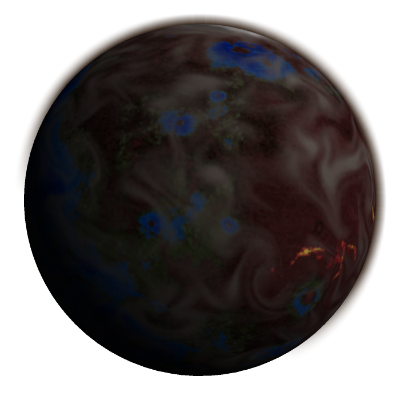 Primordial planet with volcanos, oceans, dust clouds, and spreading vegetation